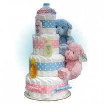 First Teddy Twins 4-Tier Diaper Cake