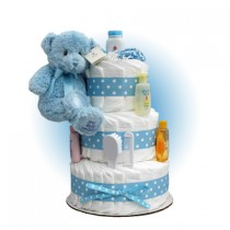 Blue Teddy 3-Tier Diaper Cake