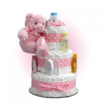 Pink Teddy 3-Tier Diaper Cake