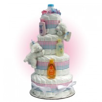 Precious Lamb Twins 4-Tier Diaper Cake
