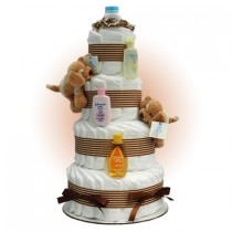 Tan Sparky Twins 4-Tier Diaper Cake